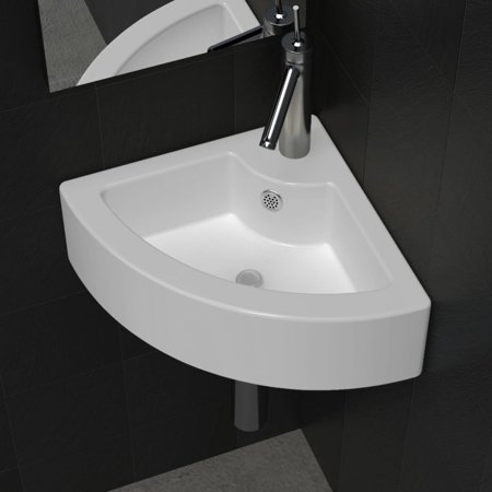 "Bathroom Basin Ceramic Ceramic Vessel Sink Vanity Sink Above Counter White Countertop Sink Art Basin Wash Basin for Lavatory Vanity 17.3""x12.2"""