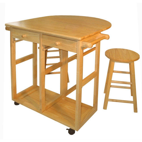 Casual Home 3 Piece Kitchen Island with Wooden Top & Stool Set