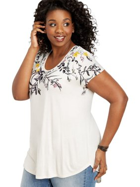 8e1e31bbc7b Product Image Plus Size 24 7 Short Sleeve Floral Dolman Tee. maurices