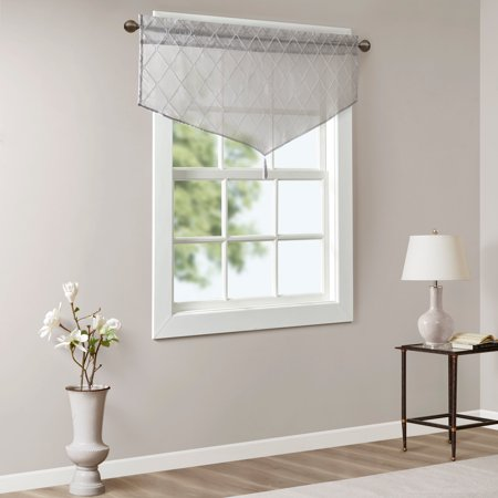 Home Essence Clarissa Diamond Sheer Embroidered Ascot Valance