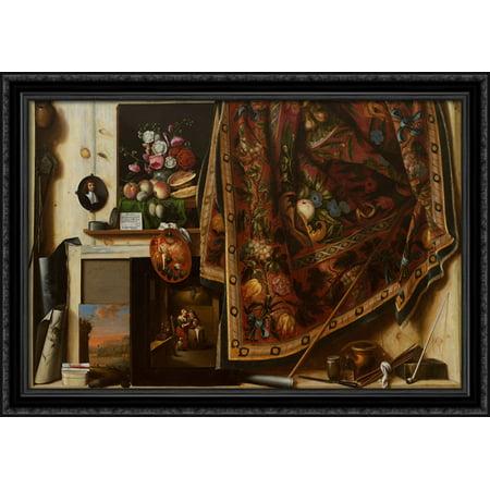 Trompe L Oeil A Cabinet In The Artist S Studio 40x28 Large Black Ornate Wood Framed Canvas Art By Cornelis Norbertus Gysbrechts