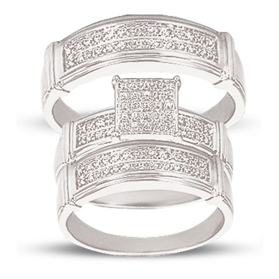 10K White Gold 0.2cttw Pave Diamond Bridal Trio His and Hers Ring Set