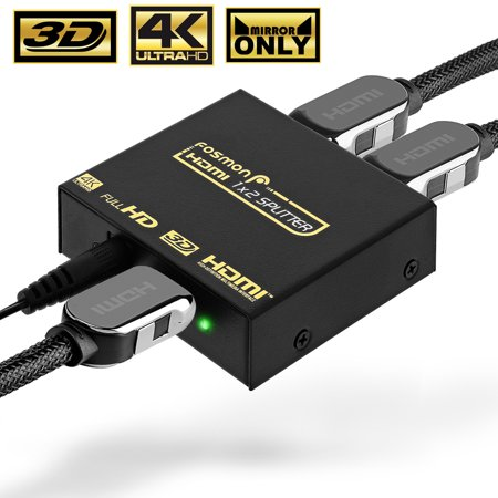 4K HDMI Splitter, Fosmon 1x2 HDMI Powered Splitter - Supports Full Ultra HD  , 1080p , Blu-ray, DVD, Xbox One/One S/One X