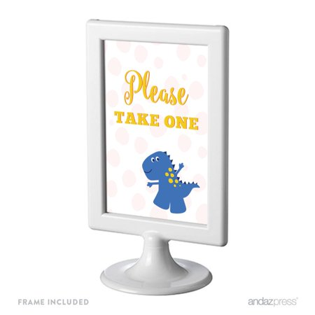 Birthday Framed Party Signs, Please Take One, Red Blue and Yellow Dinosaur Party,  4x6-inch, Includes Frame