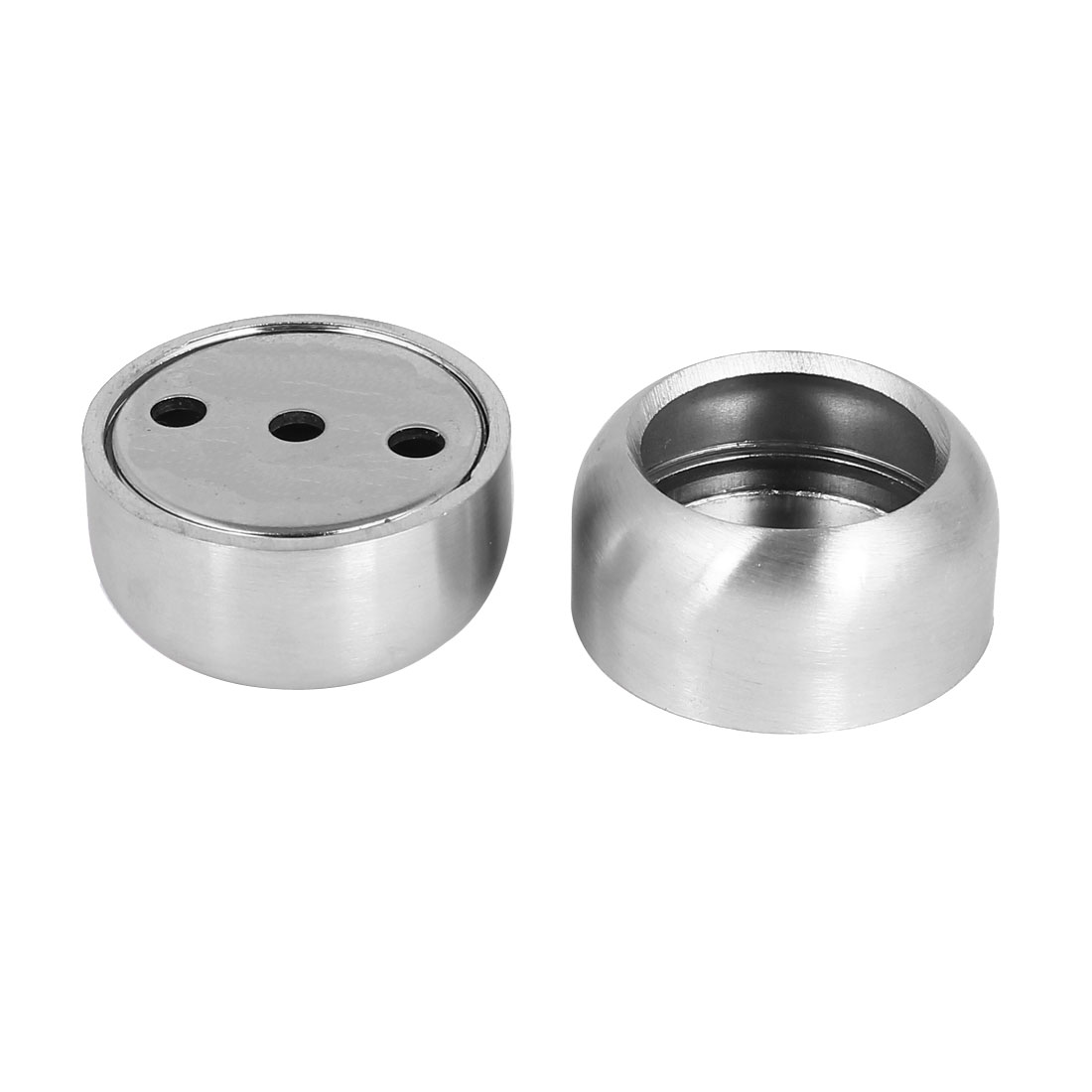 Genial 25mm Dia Stainless Steel Closet Rod Flange Round Socket Holder Silver Tone  2pcs