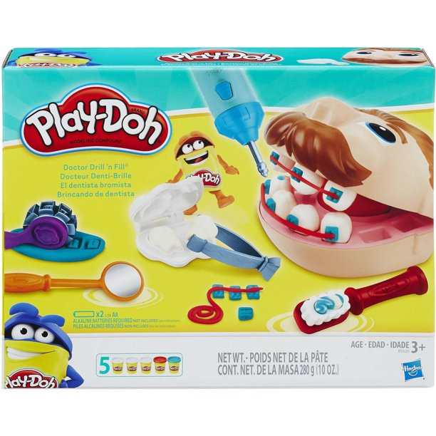 Play-Doh Doctor Drill 'N Fill Set with 5 Cans of Play-Doh, 10 Ounces of Compound Included