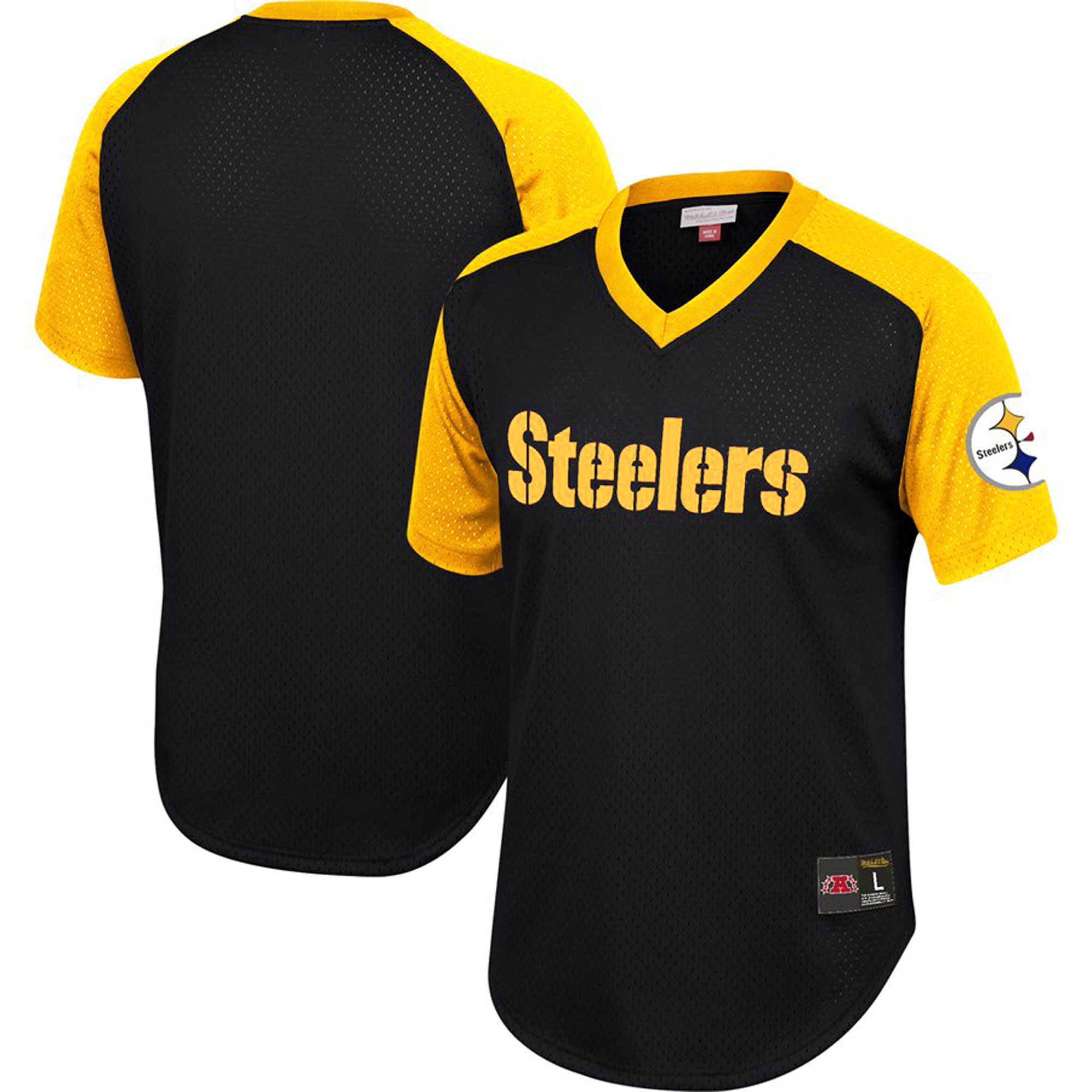 Pittsburgh Steelers Mitchell & Ness Final Second Mesh V-Neck T-Shirt - Black