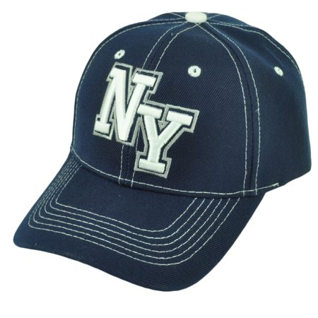 New York City NYC Big Apple Navy Blue Adjustable Curved Bill Baseball Hat Cap ()