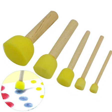JOYFEEL 5pcs for Kids Sponge Stamper Water Watercolor Oil Gouache Acrylic Paint Brush for Kids (Es Acrylic Colour)