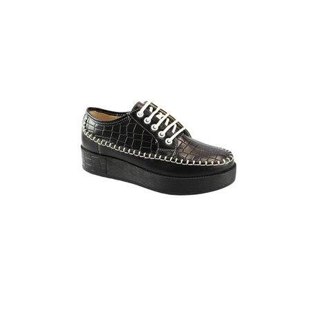 Liyu Adult Black Snake Skin Pattern Panel Lace-Up Oxford Shoes