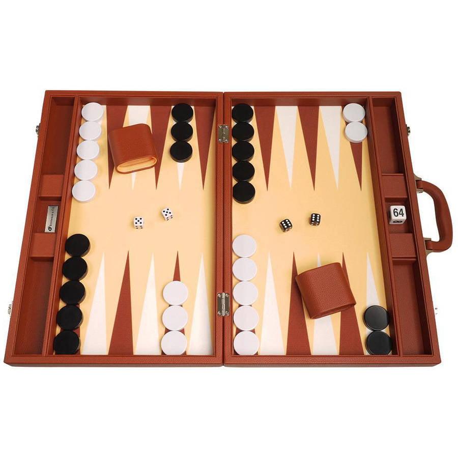 """19"""" Premium Backgammon Set, Desert Brown by"""