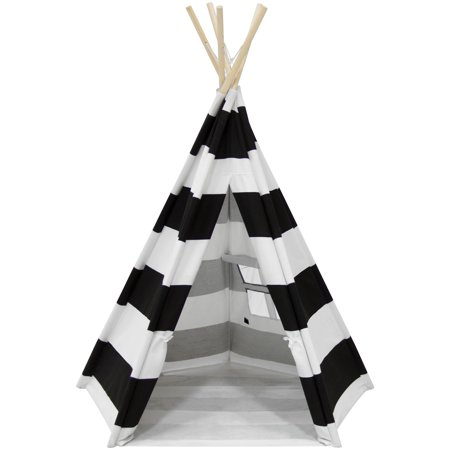 Diy Teepee (Best Choice Products 6ft Teepee Play Tent Kids Indian Canvas Playhouse Sleeping Dome w/ Carrying Bag -)