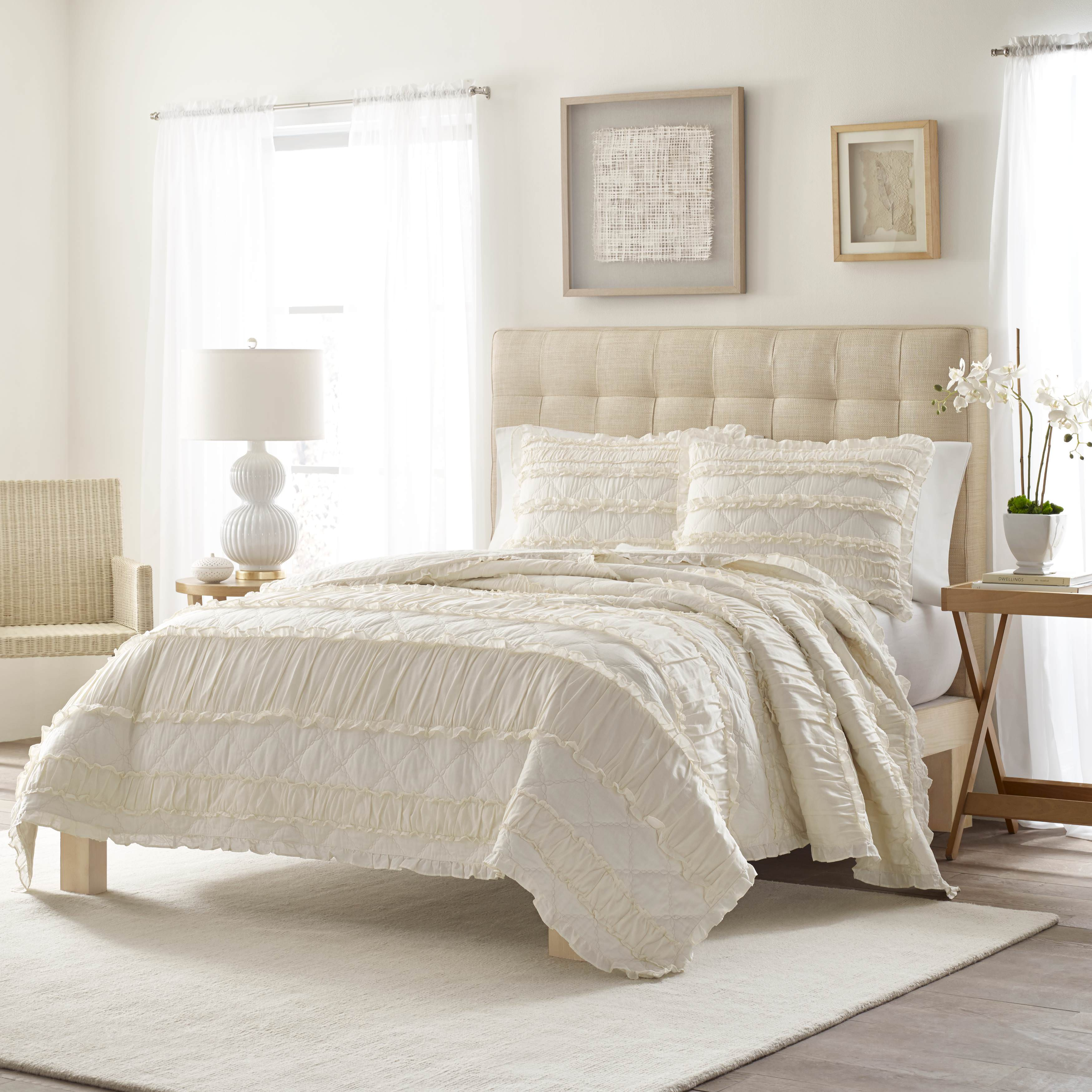 Stone Cottage Solid Ruffle Quilt Set, Full/Queen