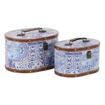Decmode Set of 2 Traditional Pine Wood and Leather Oval Suitcase Boxes With Lid, Violet](Decorative Suitcase)