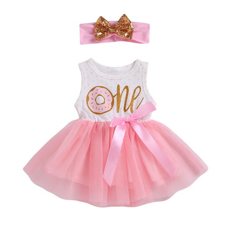 2Pcs Baby Girls Tutu Dress 1st 2nd 3rd Birthday Outfit Donut Letter Print Top Tulle Tutu Skirt with Headband Outfit Set