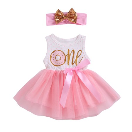 2Pcs Baby Girls Tutu Dress 1st 2nd 3rd Birthday Outfit Donut Letter Print Top Tulle Tutu Skirt with Headband Outfit Set - Baby 1st Birthday