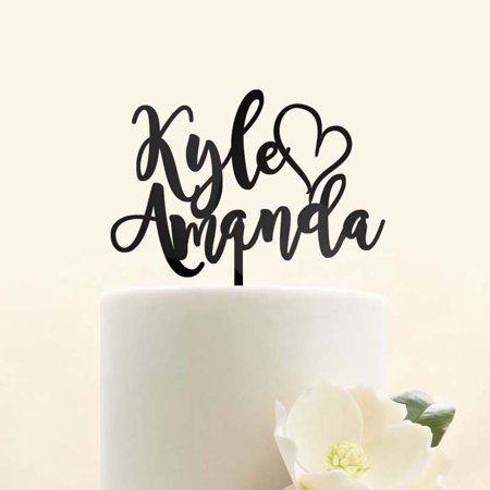 - Custom Personalized Mr Mrs Names Heart Bride and Groom Wedding Cake Topper Modern Calligraphy Script Unique Anniversary Cake Topper