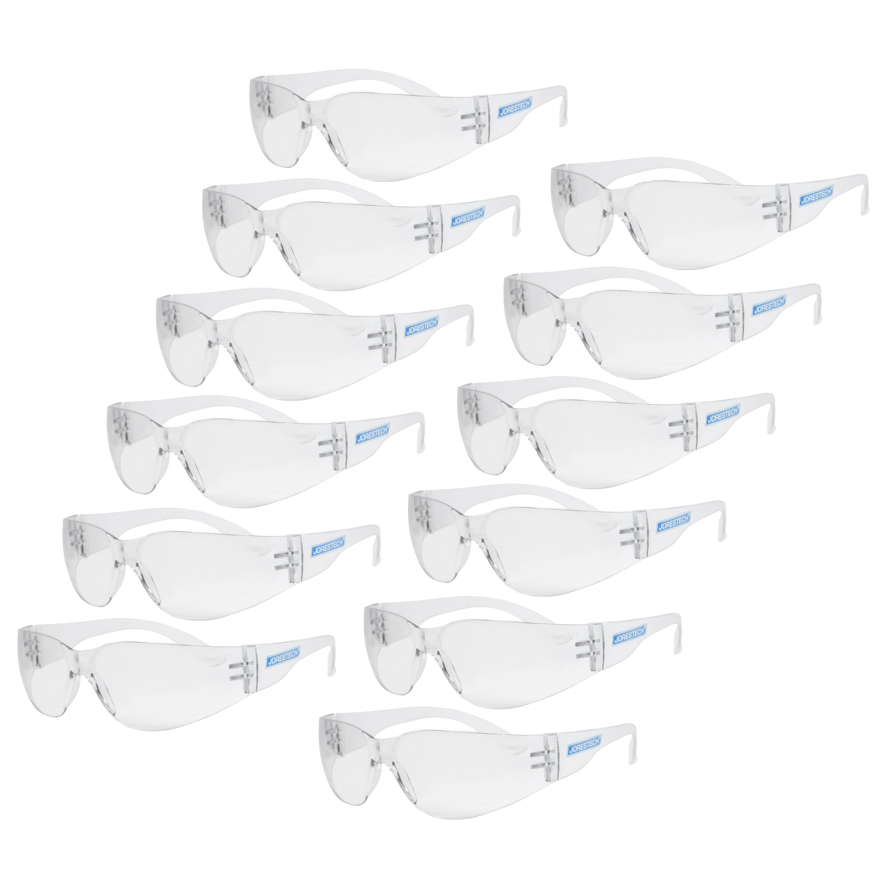 JORESTECH® UV Safety Glasses, Anti Scratch and Frame-less Clear glasses. Polycarbonate Impact Resistant Lens. Pack of 12 Units