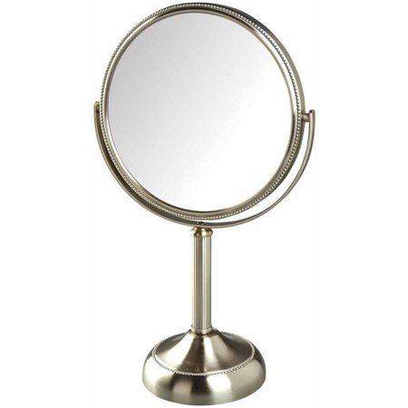 Jerdon JP918NB 10X Magnified Swivel Tabletop Vanity Mirror, Nickel Beaded, 44 - Magnified Vanity Mirror