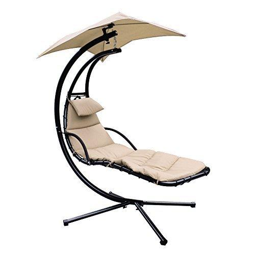 ... Super Deal Large Beige Hanging Hammock Chaise Lounger Outdoor Swing Chair  Canopy Home Patio Yard Arc