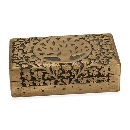Shop LC Delivering Joy Matte Golden Finished Hand Carved Mango Wooden Gift Trinket Fashion Jewelry Organizer Box Storage