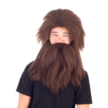 Adult Deluxe Prehistoric Cave Man Long Hair Wig and Beard Cosplay Accessory](Male Wigs Long Hair)