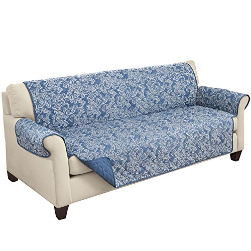 Collections Etc Paisley Reversible Furniture Protector, Loveseat, Blue