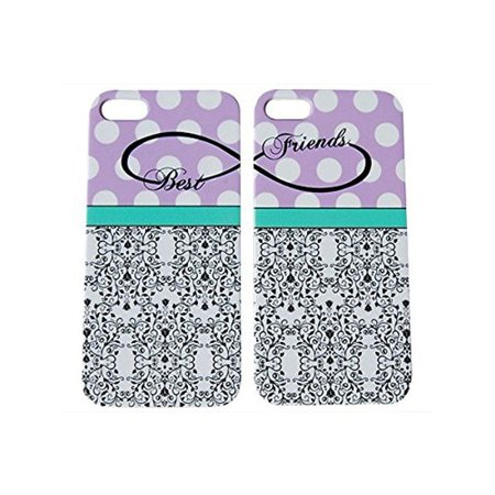 Purple Polka Dot Best Friends Phone Case for the Apple Iphone 5 / 5s by iCandy (Best Iphone 5s Case Ever)