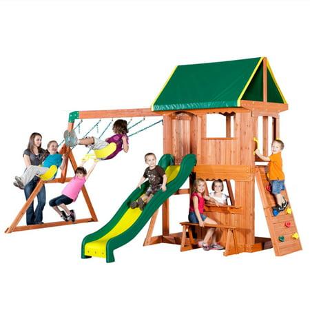 Backyard Discovery Somerset Wood Swing Set - Walmart.com