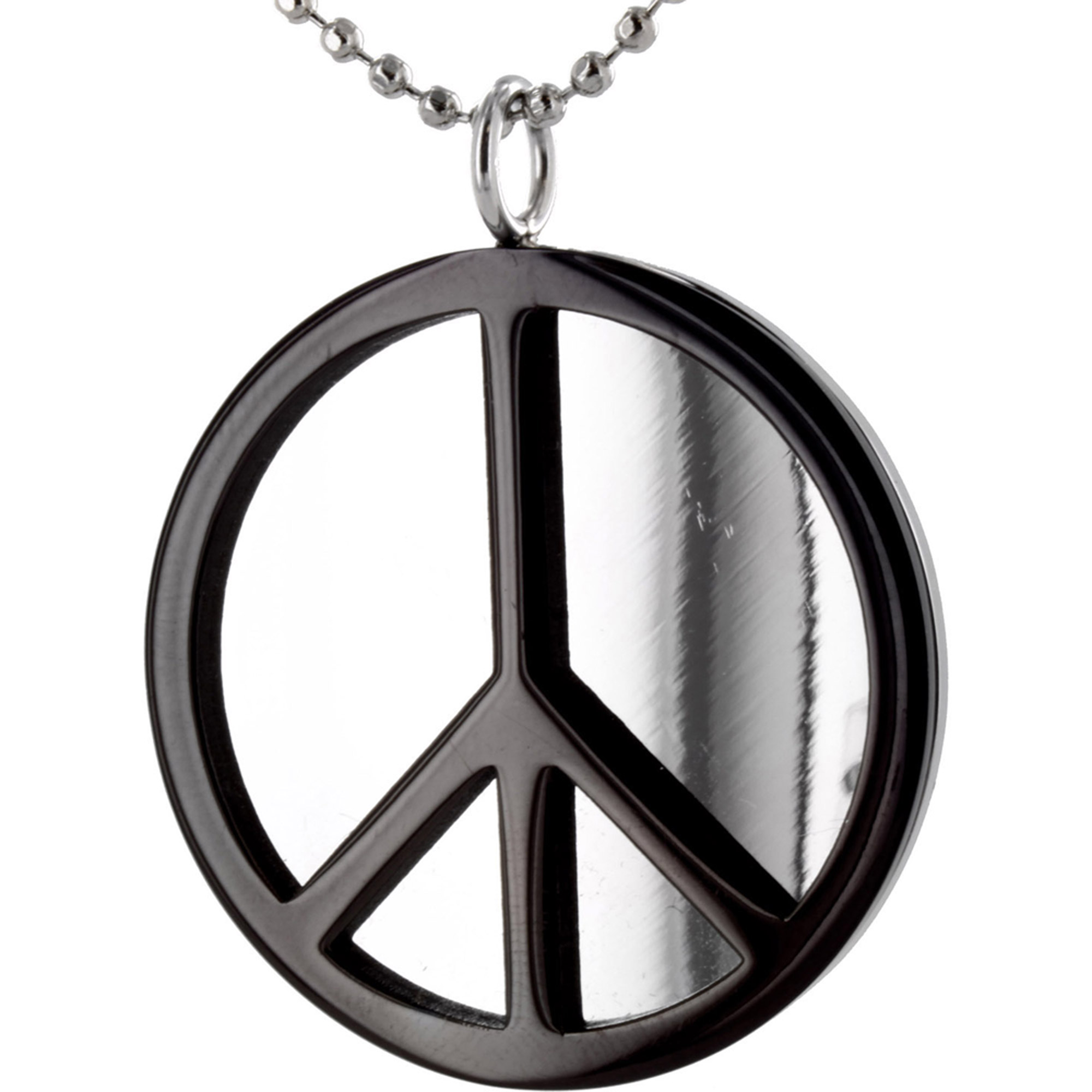 Stainless Steel Polished Black Plated Peace Sign Pendant Walmart