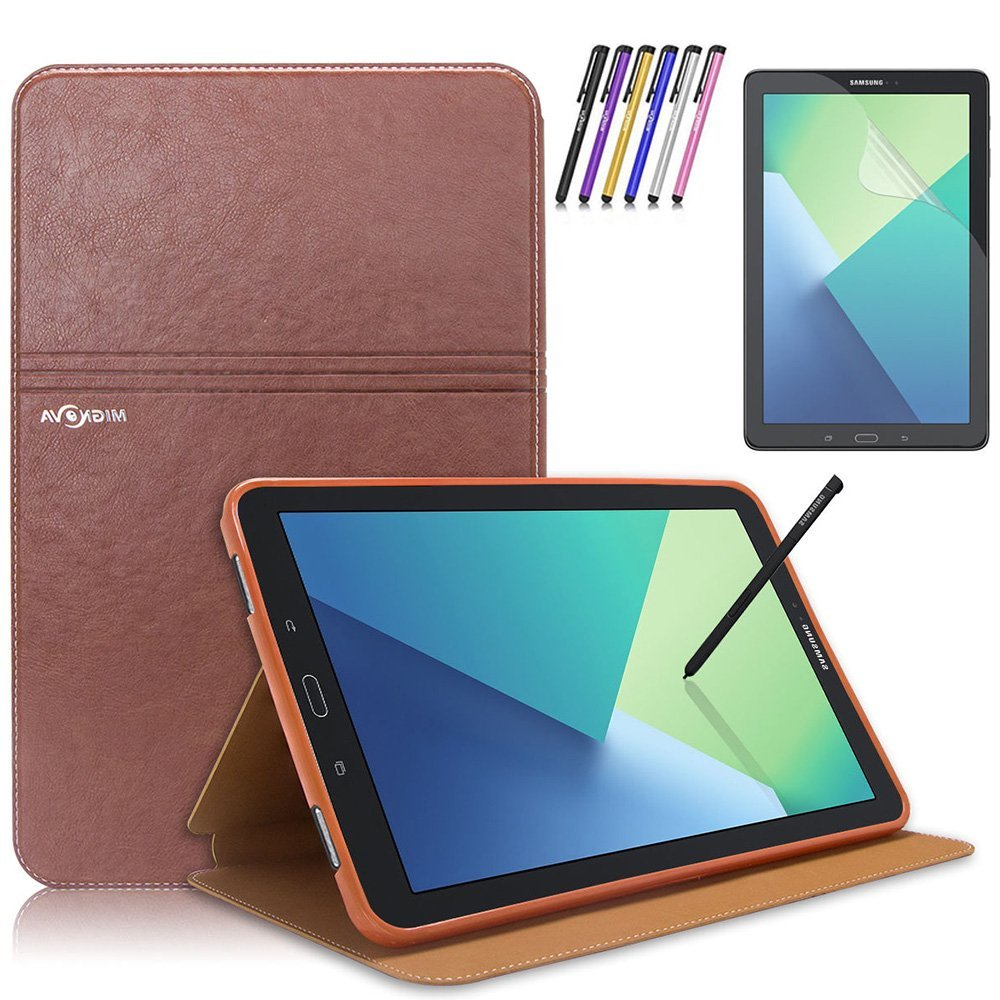 Mignova Samsung Galaxy Tab A 10.1 with S Pen Case - Slim Smart Stand Cover with Auto Sleep/Wake for Galaxy Tab A 10.1 inch Tablet with S Pen SM-P580+ Screen Protector Film and Stylus Pen (2nd Brown)