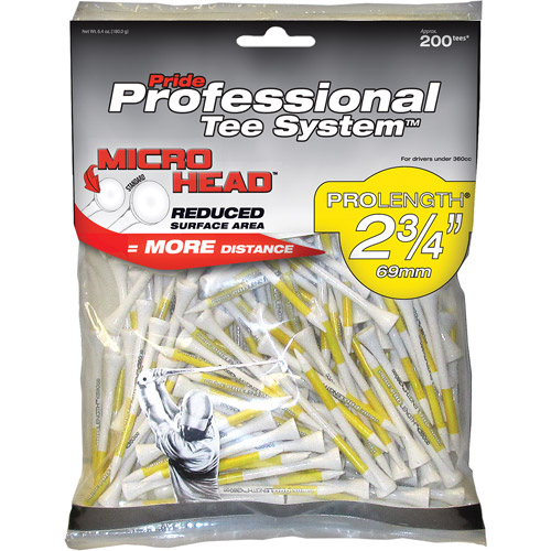 "Pride Professional 2-3/4"" Micro 200ct White Tees"