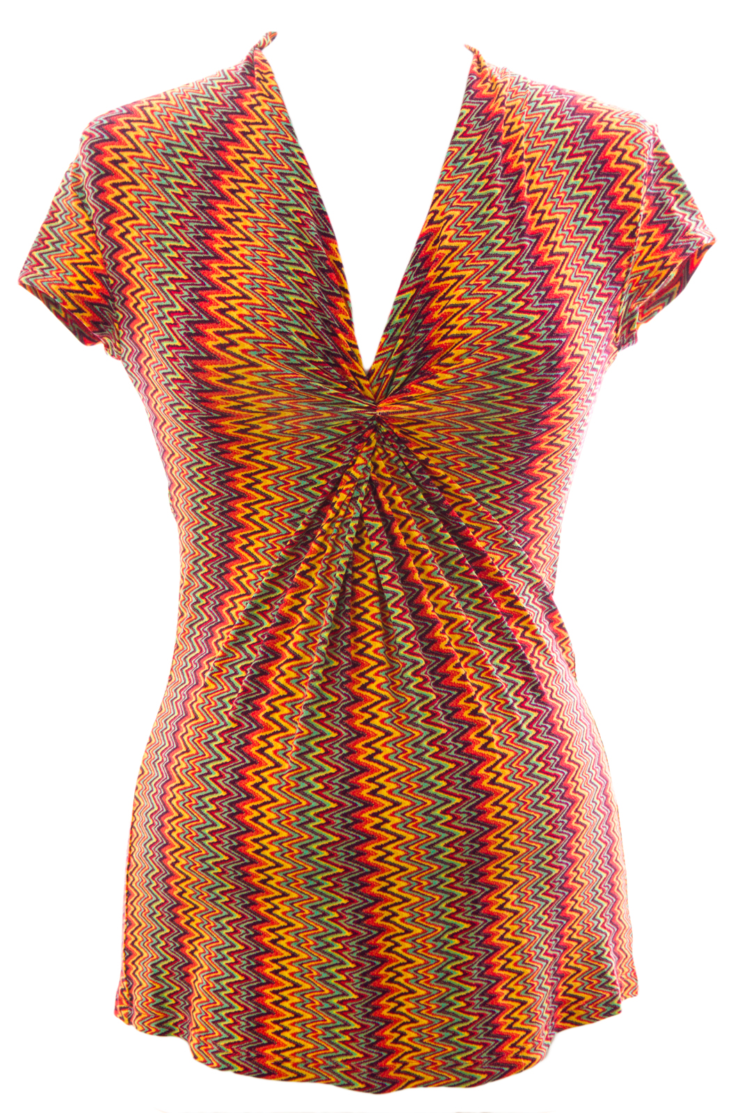 Olian Women's Zig Zag Print Twist Detail Maternity Top Small Multicolor