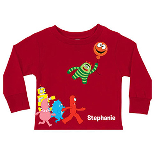 Personalized Yo Gabba Gabba! Balloon Getaway Red Toddler Long-Sleeve Tee