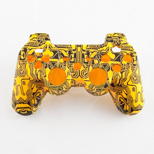 Yellow Circuit Board Hydro-Dipped Custom Controller Shell for PS3
