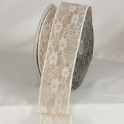 """Light Brown and White Flower Lace Wired Craft Ribbon 2.5"""" x 20 Yards"""
