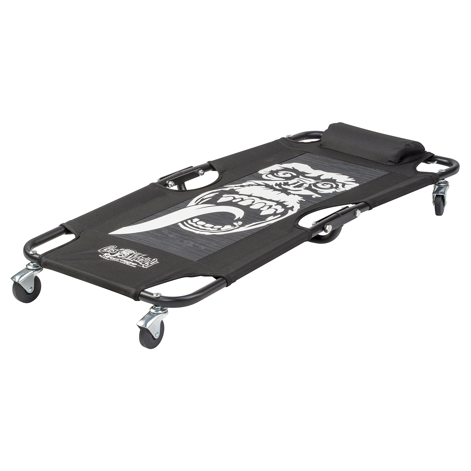 Gas Monkey Garage Foldable Mechanic Mesh Creeper - 4 Rolling Casters with Center Support - Lightweight and Portable with 350 Lbs Capacity Great for Garage Automotive
