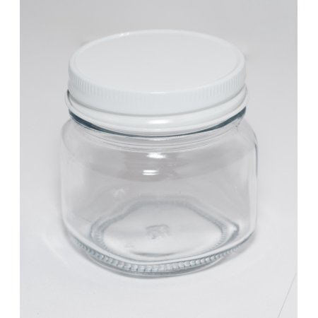 8 oz Mason Jar with White Lids, Case of 12