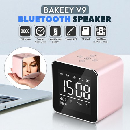 Bakeey LED Display 2in1 Mini Dual Alarm Clock Rechargeble bluetooth Speaker TF Card AUX with -