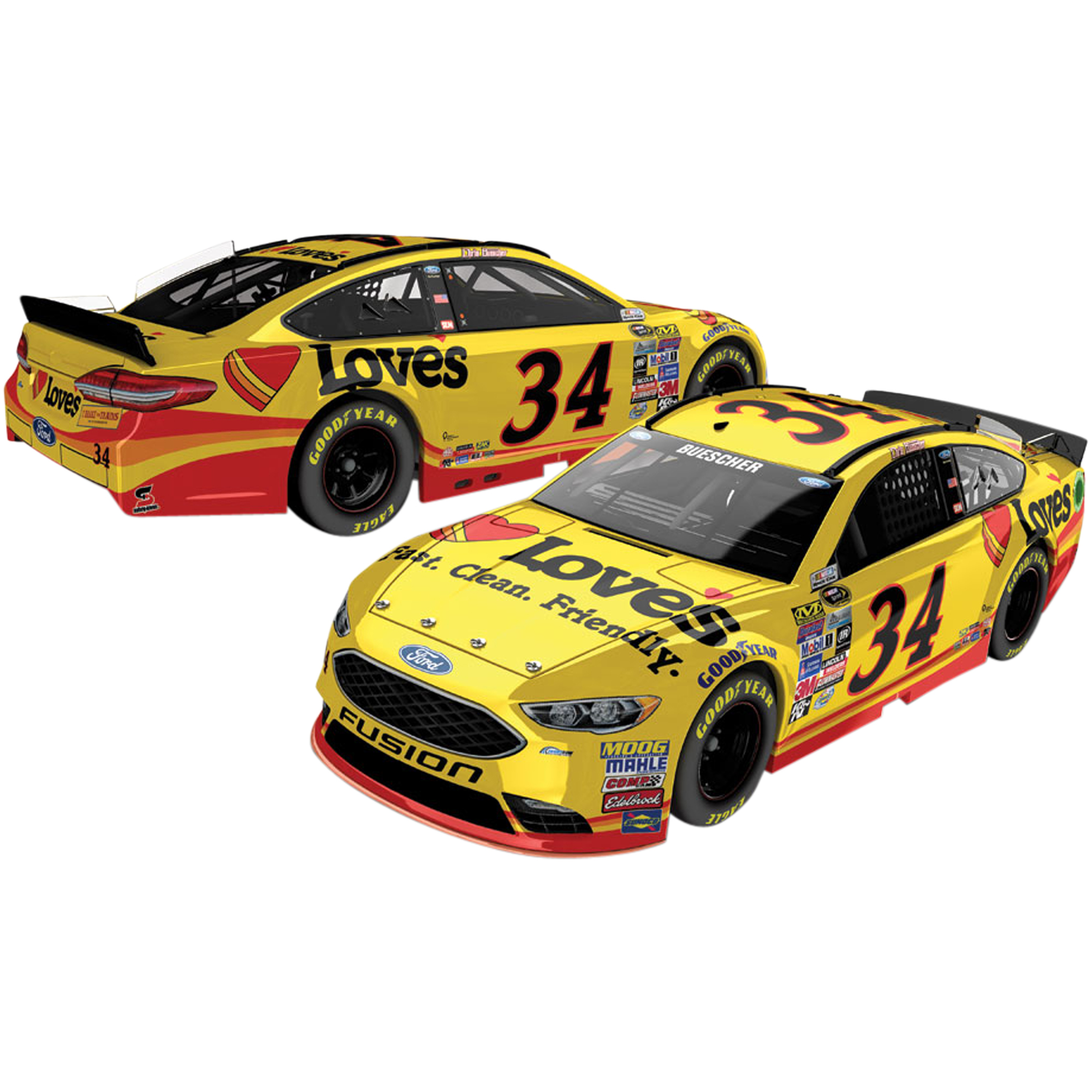 Chris Buescher 2016 #34 Love's 1:24 Nascar Regular Paint Die-Cast Car No Size by Lionel LLC