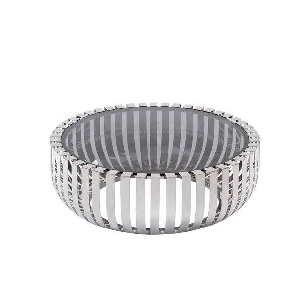 Cage Stainless Steel Round Coffee Table, Round Glass And Stainless Steel Coffee Table