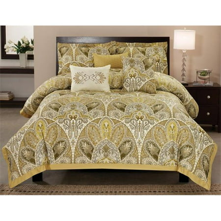 Luxury home cotton amaretto comforter set queen 6 piece for Luxury cotton comforter sets