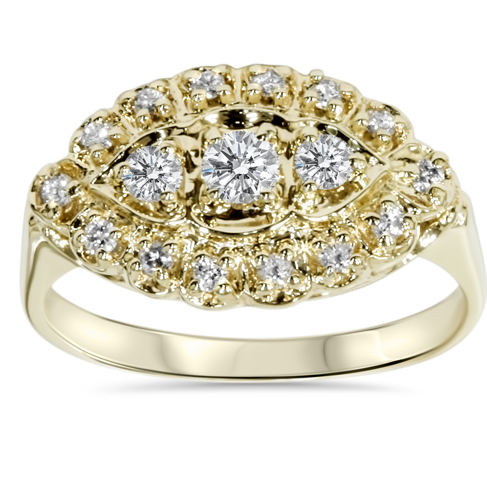 Antique Yellow Gold 1/2ct Diamond Right Hand Ring