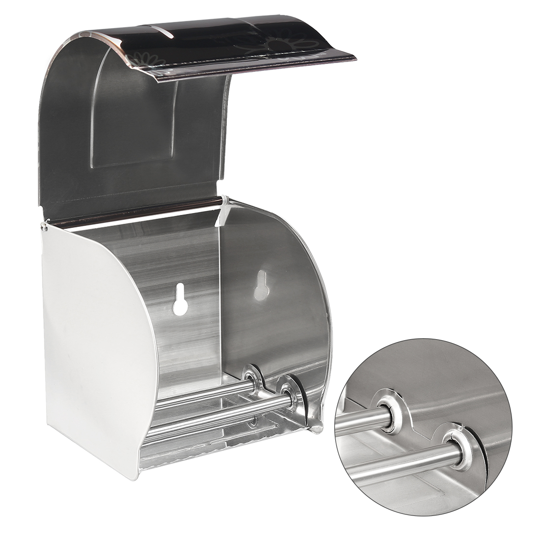 Unique Bargains 120mmx122mmx123mm 304 Stainless Steel Wall-Mounted Toilet Paper Holder w Cover - image 3 of 7