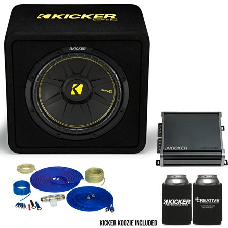 Kicker 12 Inch Comp Bass Package 44VCW122 with CXA4001 and amp wire kit