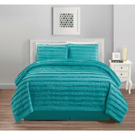 All American Collection New 4pc Pleated Ruffle Bedspread/Quilt Set with Bedskirt ()