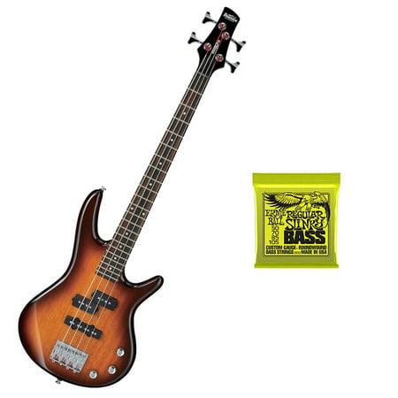 Ibanez Mikro 3 4 Size Bass Guitar  Brown Sunburst  Plus Ernie Ball Bass Strings