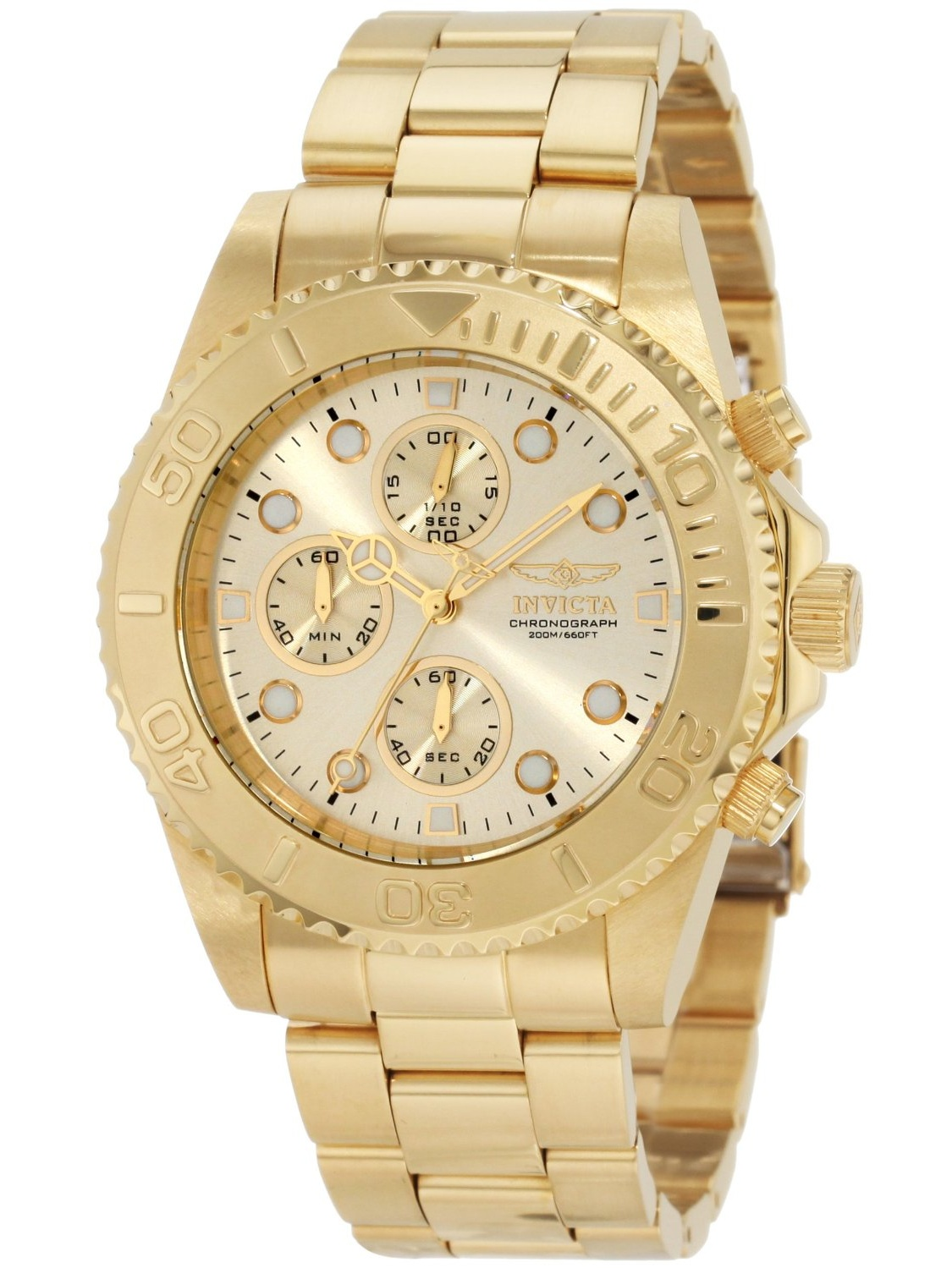 1774 Men's Pro Diver Gold Tone Stainless Steel Chronograph Dive Watch