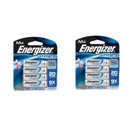 Energizer Ultimate Lithium AA Batteries L91BP-4  2 Pack = 8 Batteries