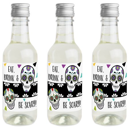 Day Of The Dead - Mini Wine and Champagne Bottle Label Stickers - Halloween Sugar Skull Party Favor Gift for Women and](Party Halloween Miami 2017)